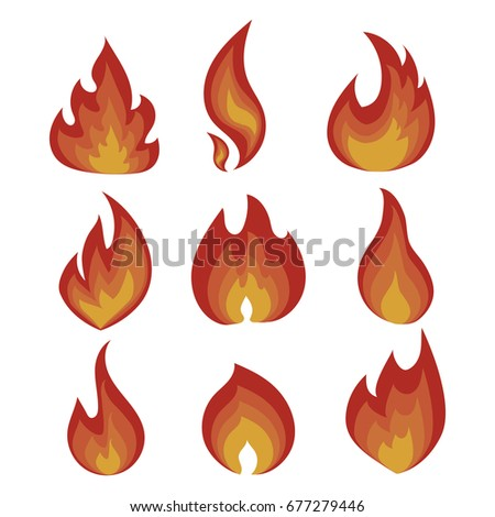 vector set of flame a