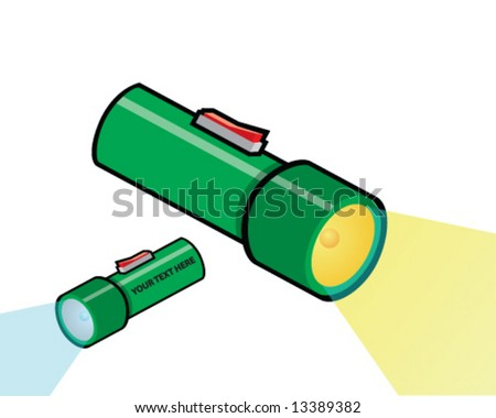 vector set of flashlights, blue or yellow bulbs, space for your message