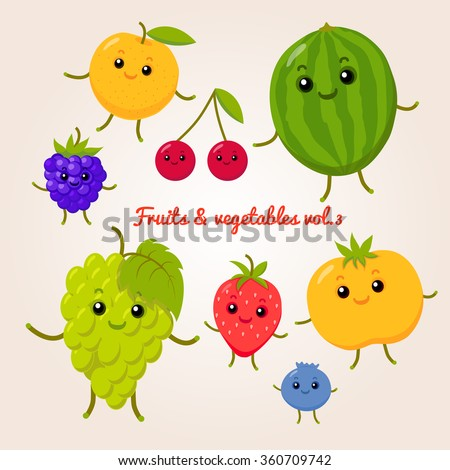 vector set of flat cartoon happy fruits #360709742