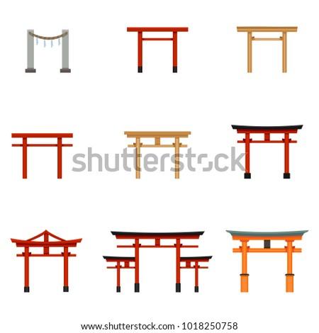 Vector Set of Flat Color Torii Gate Icons. Symbol of Shintoism