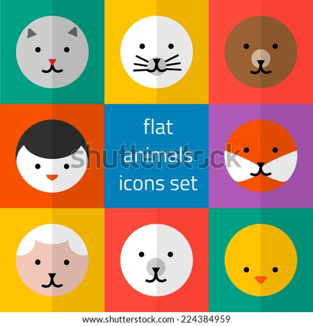 Vector set of flat cute animals icons