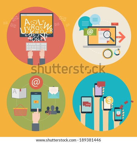 Vector set of flat design icons for blogging, web design, seo, social media. Business concept: online shopping, education, advertising, development, communications, analytics, mobile services and apps