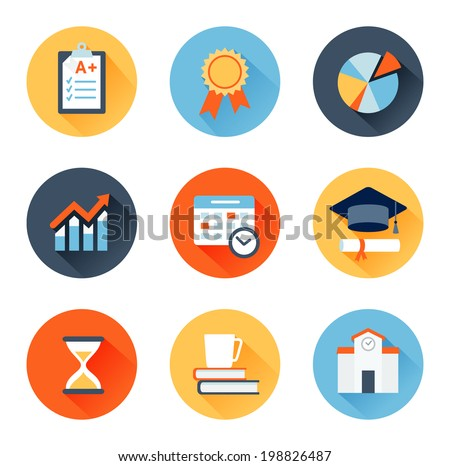 Vector set of flat icons education, exam, graduation and quality assurance
