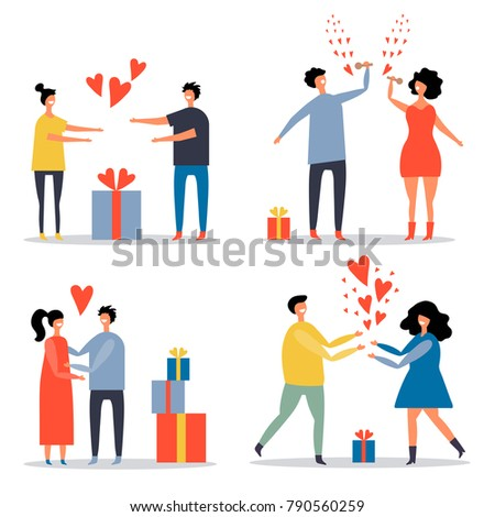 vector set of flat images of lovers. Valentine's Day
