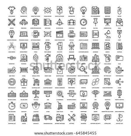 Vector set of 150 flat line web icons on following themes - creative process, office and business, , shopping and retail, SEO and web optimization