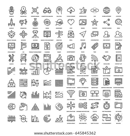 Vector set of 150 flat line web icons on following themes - startup and new business, social media, charts and diagrams, data management