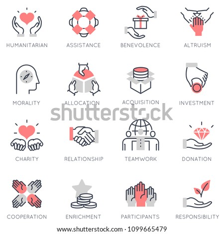 Vector set of flat linear icons related to altruism, benevolence, human responsible and beneficence. Flat infographics design elements with stroke lines