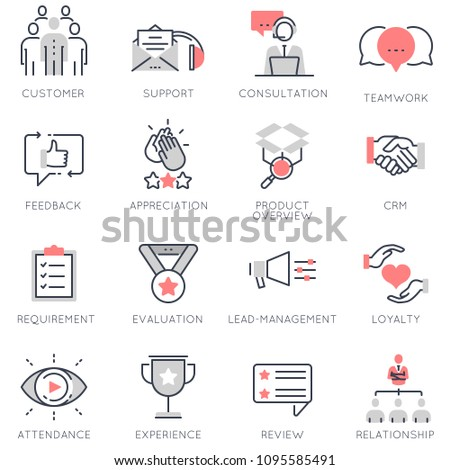 Vector set of flat linear icons related to business management, feedback, relationship and evaluation. Flat infographics design elements with stroke lines