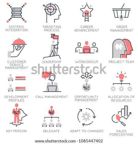 Vector set of flat linear icons related to business management, strategy, career progress and business process. Flat infographics design elements with stroke lines