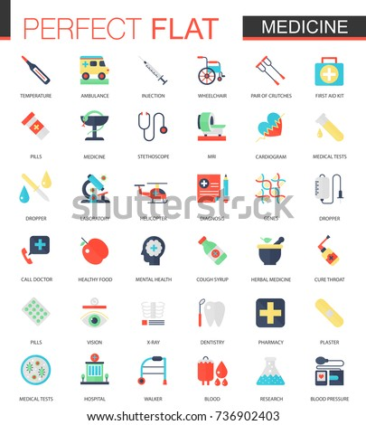 Vector set of flat Medical and healthcare icons.