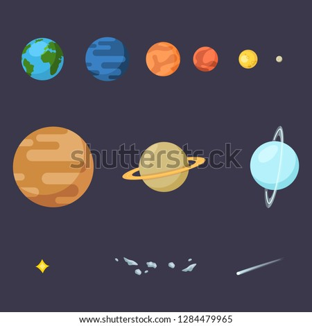 Vector Set of Flat Space Icons. Solar Systems Planets, Star, Comet and Asteroids.