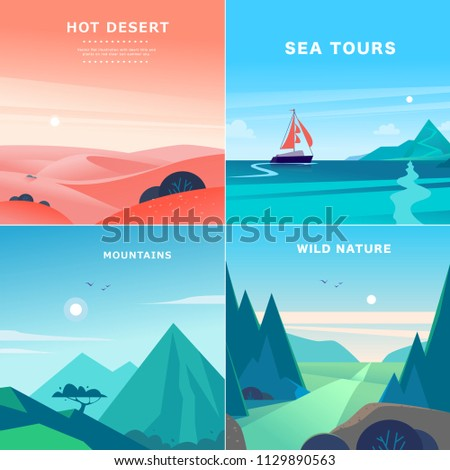 vector set of flat summer