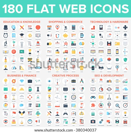 Vector set of 180 flat web icons on following themes - SEO and development, business and finance, education and knowledge, technology and hardware, shopping and commerce, creative process