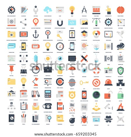 Vector set of 100 flat web icons on following themes - SEO and development, creative process, office and business, security and protection