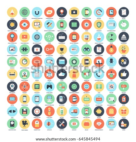 Vector set of 150 flat web icons on following themes - SEO and development, technology and hardware, business and finance, shopping and commerce.