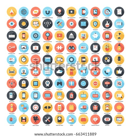 Vector set of 100 flat web icons on following themes - SEO and development, technology and hardware, business and finance, shopping and commerce.