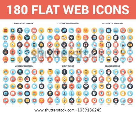 Vector set of 180 flat web icons with long shadow on following themes - files and documents, power and energy, message bubbles, leisure and tourism, light bulbs, brain process