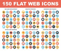 Vector set of 150 flat web icons with long shadow on following themes - SEO and development, creative process, business and finance, office and business, security and protection, shopping and commerce