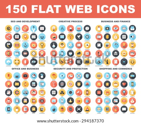 Shutterstock Vector set of 150 flat web icons with long shadow on following themes - SEO and development, creative process, business and finance, office and business, security and protection, shopping and commerce