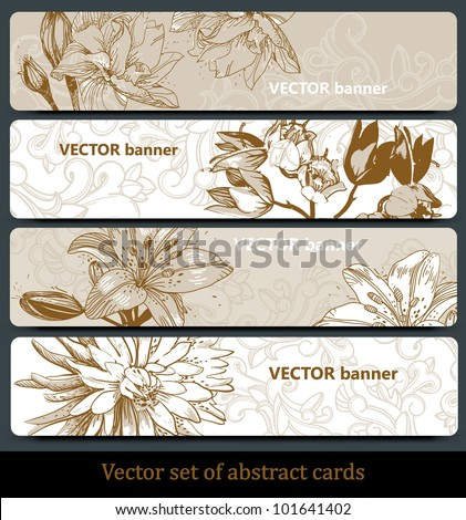 vector set of floral banners in a beige palette