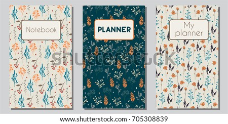 Vector set of floral covers for planners and notebooks