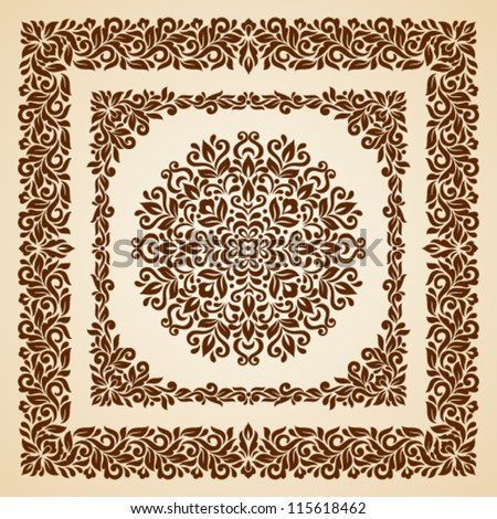 Vector set of floral elements. Seamless pattern for frames and borders. Elements are grouped for convenience