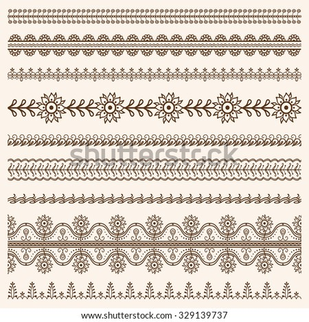 Vector set of floral ornamental borders in indian mendi style Stock photo ©