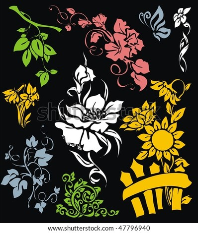 VECTOR Set of flower elements, ornaments and patterns
