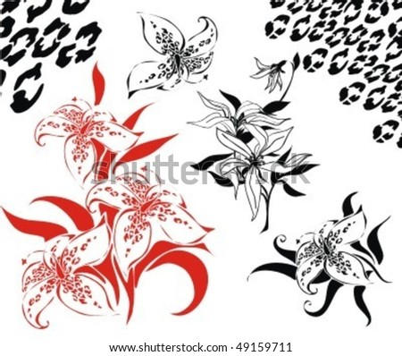 VECTOR Set of flower exotic images