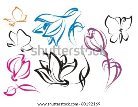 VECTOR  Set of flower images with patterns and butterflies