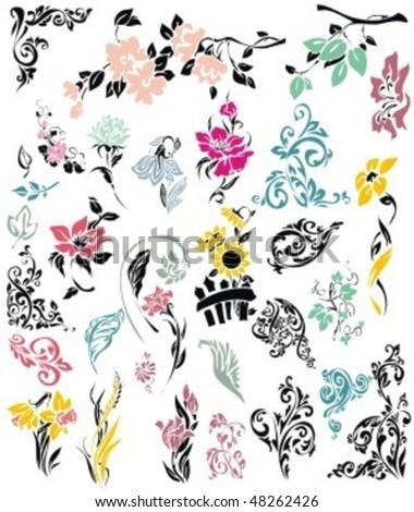 Цветочные орнаменты, уголки и просто цветочные кисточки для Фотошоп.