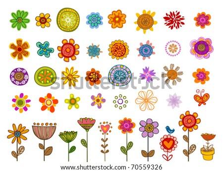 vector   set of 41 flower  very