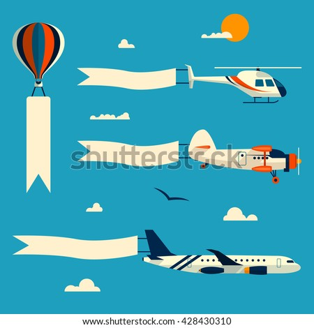 vector set of flying balloon