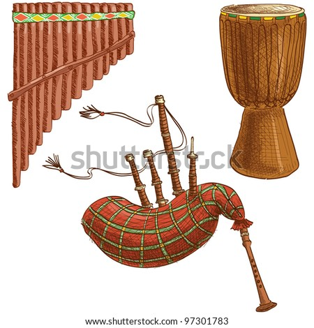 Vector set of folk musical instruments