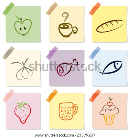 vector set of food icon on note