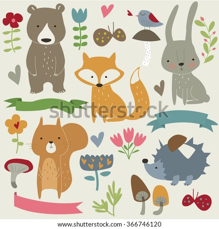 vector set of forest animals