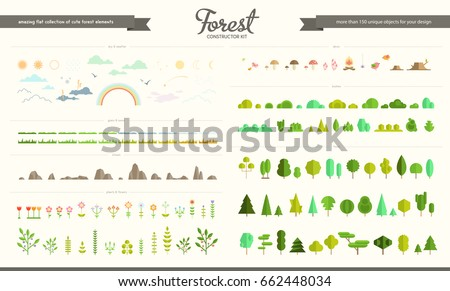 vector set of forest  park and