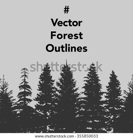 vector set of forest trees