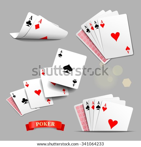 vector set of four aces playing