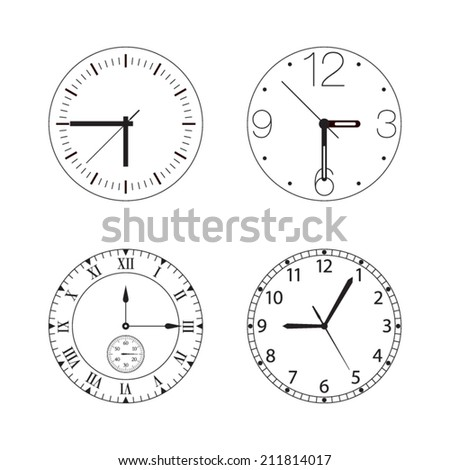 Vector set of four black and white watches / clocks isolated on white