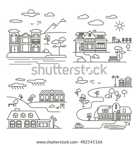 vector set of four country
