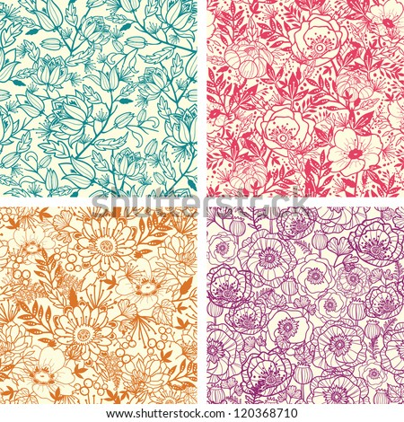 Vector set of four floral line art seamless pattern background with abstract floral elements.