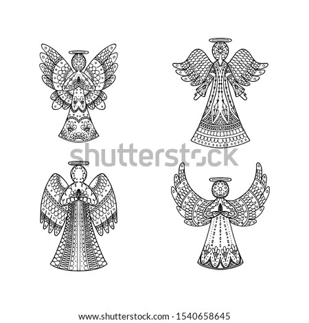 Vector set of four freehand patterned angels on white background. Religion coloring page book. Decorative elements for New year, Christmas card