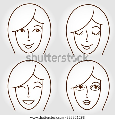 vector set of four girl faces