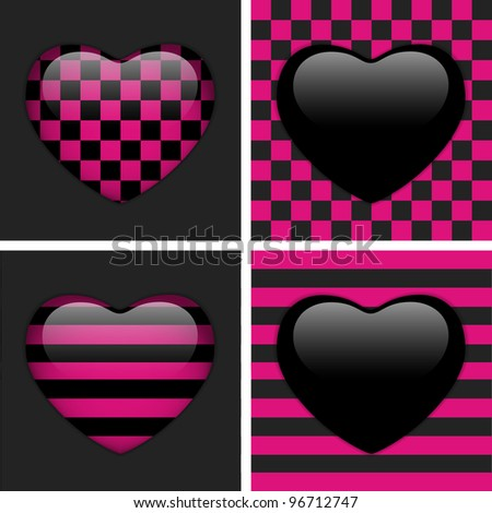 vector - Set of Four Glossy Emo Hearts. Pink and Black Chess and Stripes