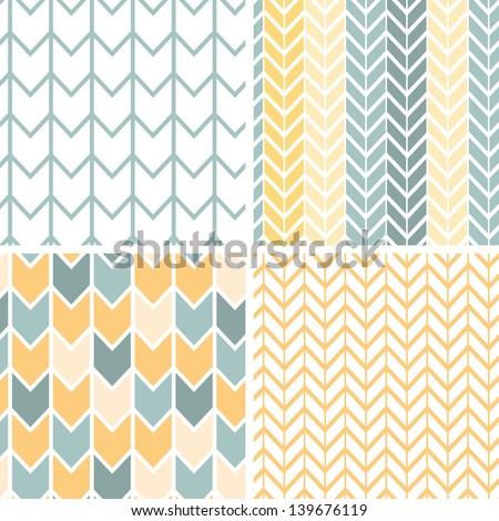 Vector set of four gray and yellow chevron patterns and backgrounds