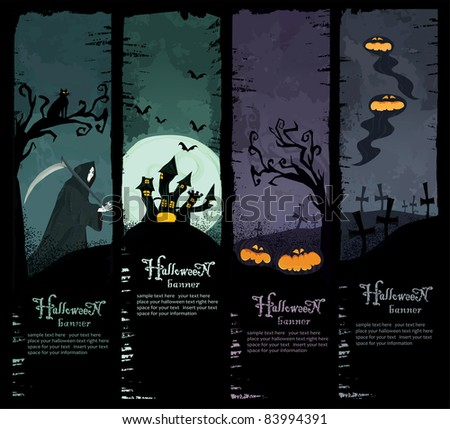 Vector Set of four grunge Halloween banners. Standard size. Grim reaper, haunted castle, spooky pumpkins and scary ghosts on the graveyard. Everything you need for your Halloween party