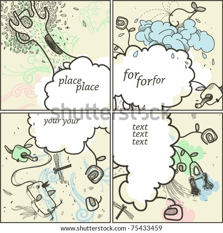 vector set of four hand drawn cards with fantasy clouds , cartoon animals and plants - stock vector