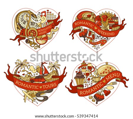 vector set of four hearts for