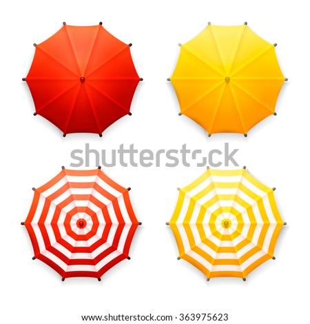 Vector set of four isolated red and yellow beach umbrellas, top view, on white